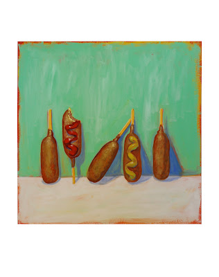 original corn dog painting, junk food art