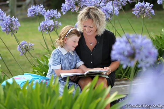 Six year-old Livia, ready for school, pictured with her mother Anna Lorck, Hastings, Labour spokesperson for Tukituki electorate. photograph