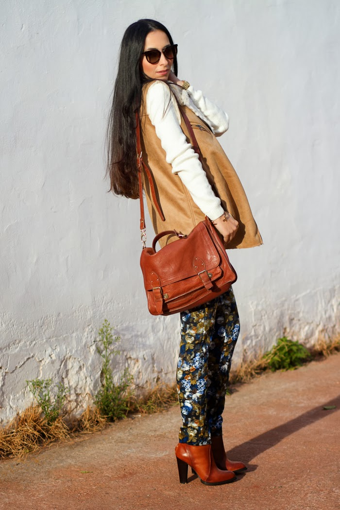 CAMEL FAUX FUR VEST and NEOPRENE FLORAL PANTS