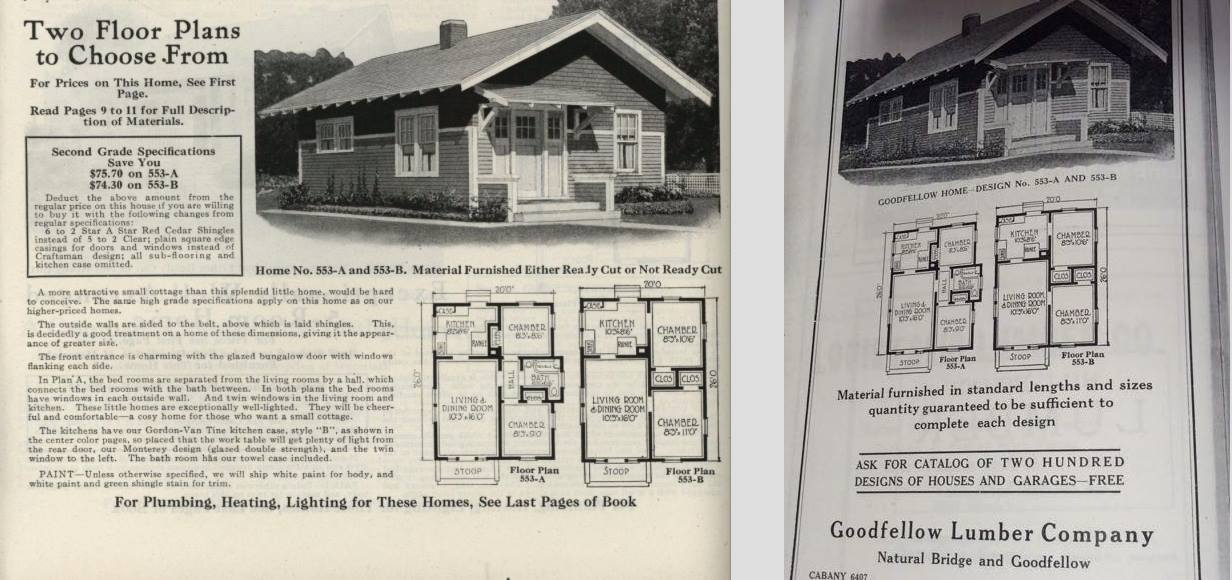 Sears house seeker september 2015 here is the gordon van tine catalog advertisement for the same house design on the left and the goodfellow lumber ad for the same house design both malvernweather Images