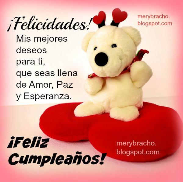 Tarjeta tierna de cumpleaños con corazón, feliz cumpleaños para compartir con hermana, amiga, mujer, niña, princesa, quince años