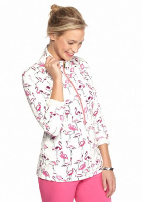 Belk crown and ivy flamingo half zip sweatshirt like similar to lilly pulitzer popover on sale