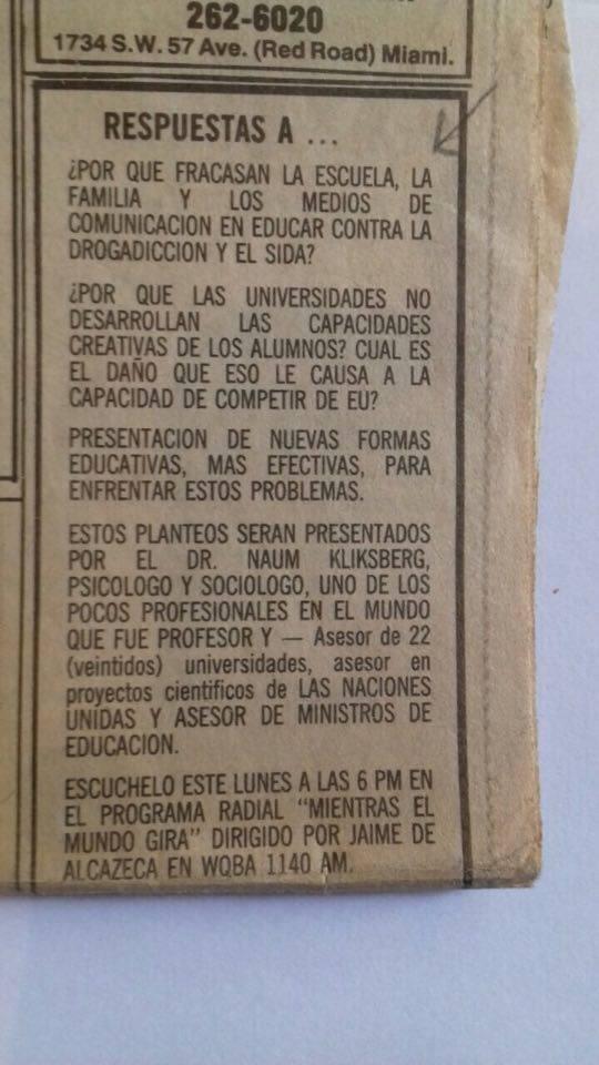 27 - Periódico EL NUEVO  HERALD, Miami, EEUU. 07/10/1990