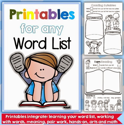 Prinatbles for any Word List from Clever Classroom for K-1 students