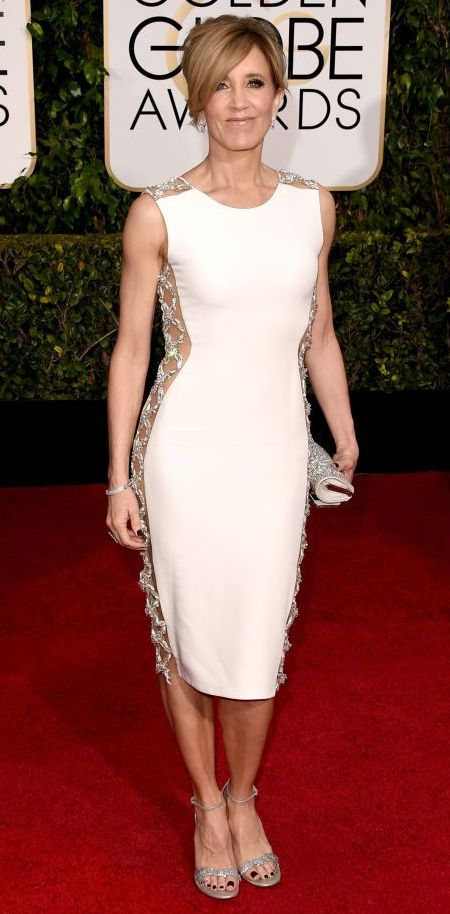 Felicity Huffman in a Lorena Sarbu dress at the Golden Globes 2015