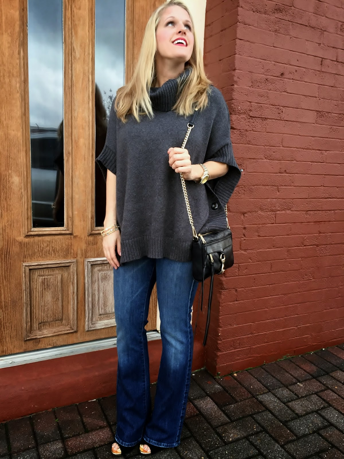 Rebecca Minkoff Mini Mac Bag, Old Navy Poncho Sweater, Lucky Brand Flare Jeans, Date Night Chic How to Wear Flare Jeans How to wear a poncho~Sunshine and Sequins