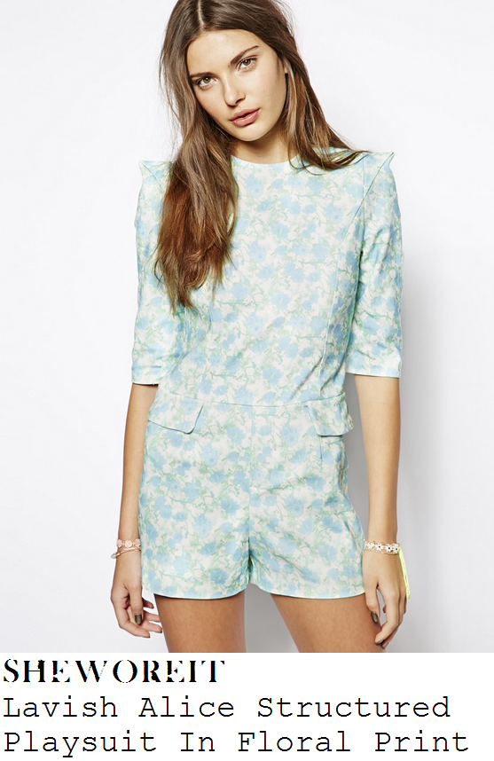 michelle-keegan-white-blue-and-mint-green-floral-print-half-sleeve-tailored-playsuit-reuben-wood-launch