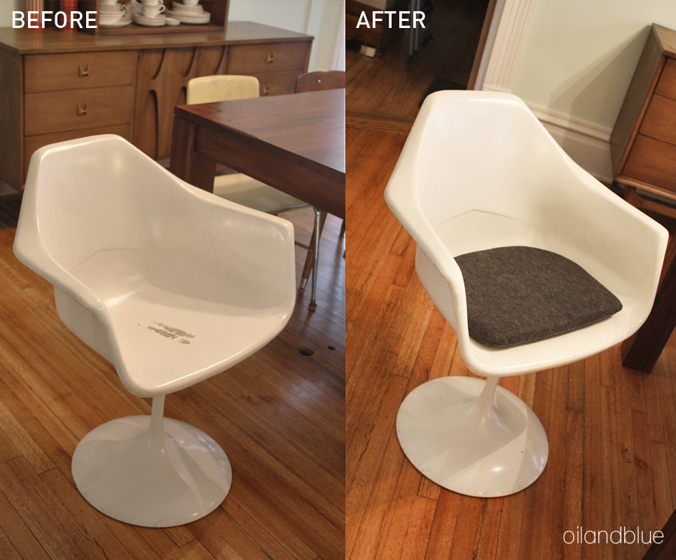 Marvelous DIY REPLACEMENT CUSHION FOR TULIP CHAIR   Before And After