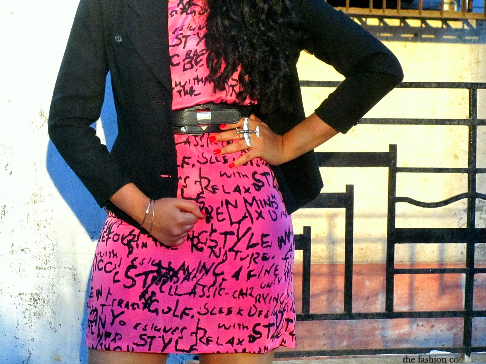 pink graffiti print mini dress Zara black blazer airplane ring