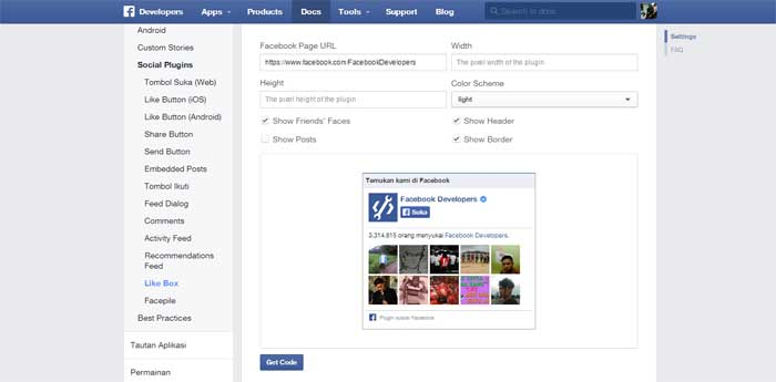 Cara Memasang Widget Facebook Like Box