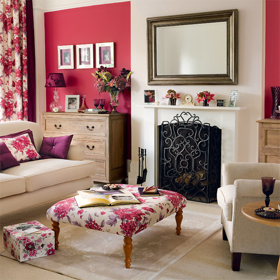 Country Living Room Red Accent Wall