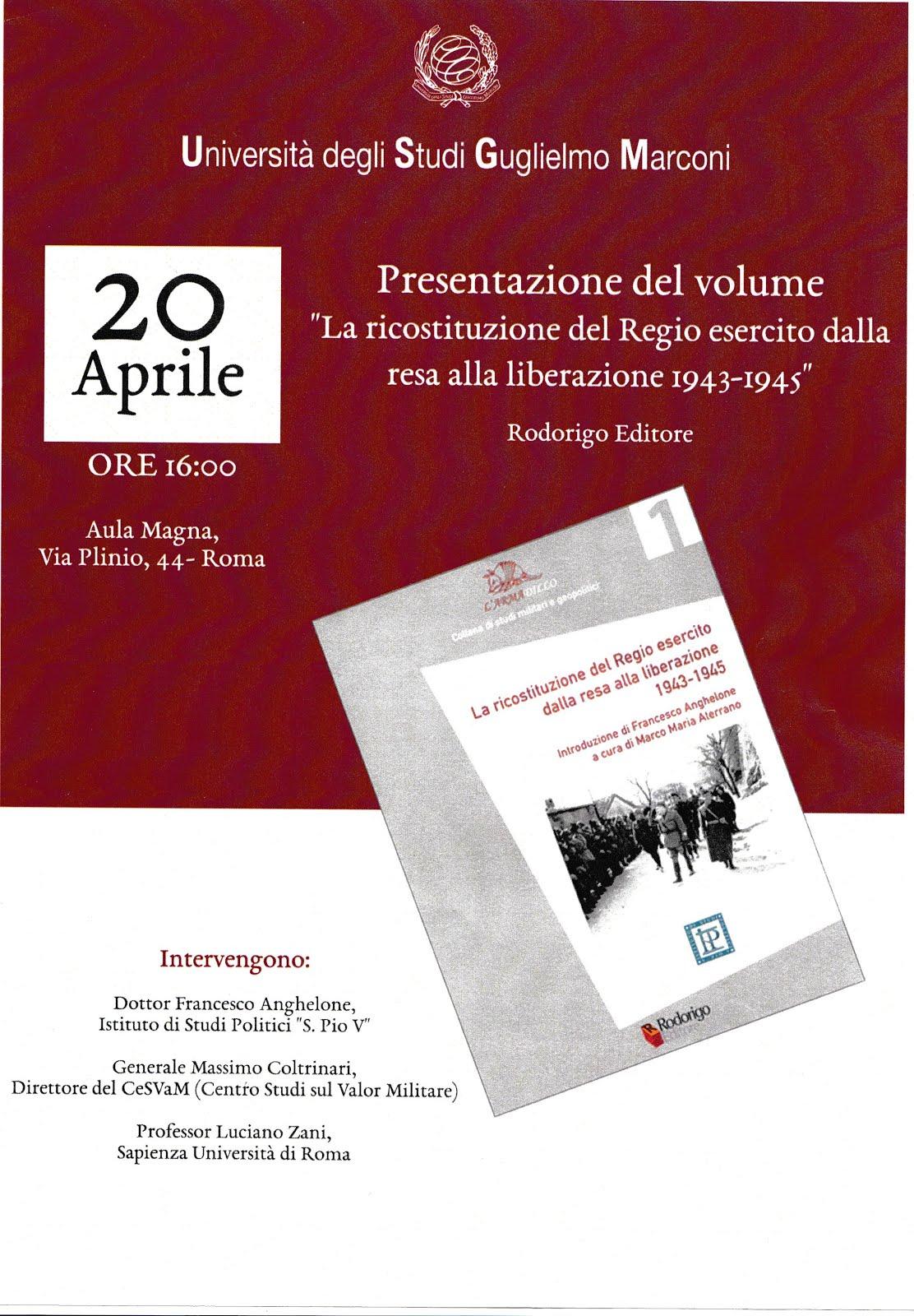 Università Guglielmo  Marconi. 20 Aprile 2018