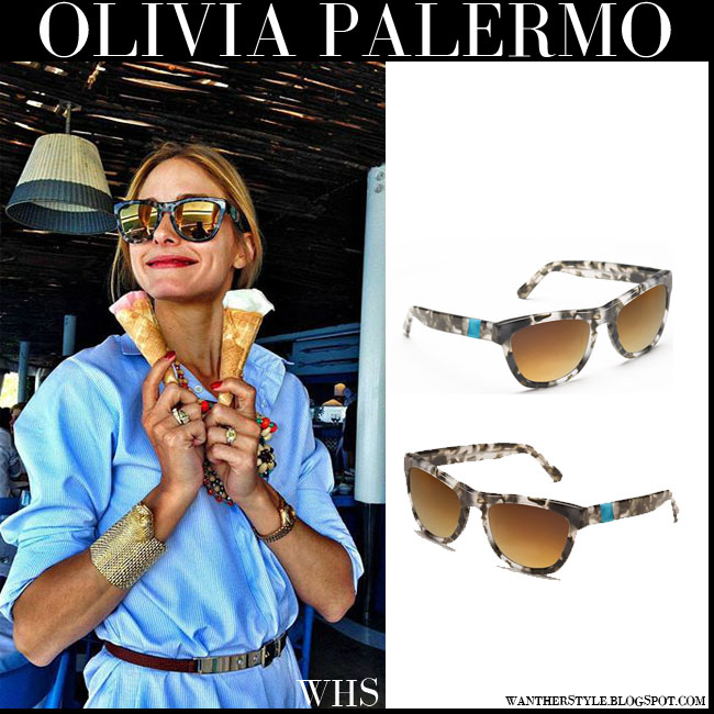 Olivia Palermo with gold mirrored wayfarer tortoise sunglasses westward leaning palm beach what she wore july 2015