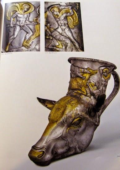 Rhyton with scenes of boar hunt, gilt silver, Greek, c. 350 BCE.