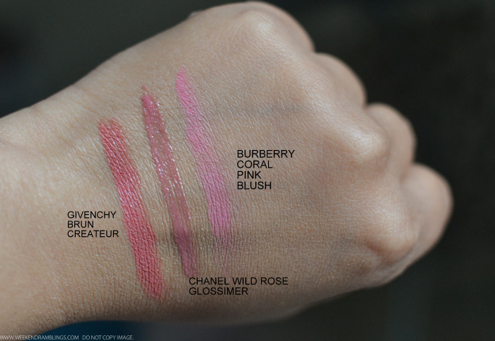 Makeup Swatches - Givenchy Brun Createur Lipstick - Chanel Wild Rose Glossimer - Burberry Blush Coral Pink - Indian beauty blog