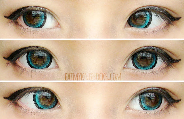 Different views of the Vassen (I.Fairy) Kirei Green circle lenses from Love Shoppingholics, worn with ulzzang and doll-inspired makeup for a cute, dolly-eyed look.