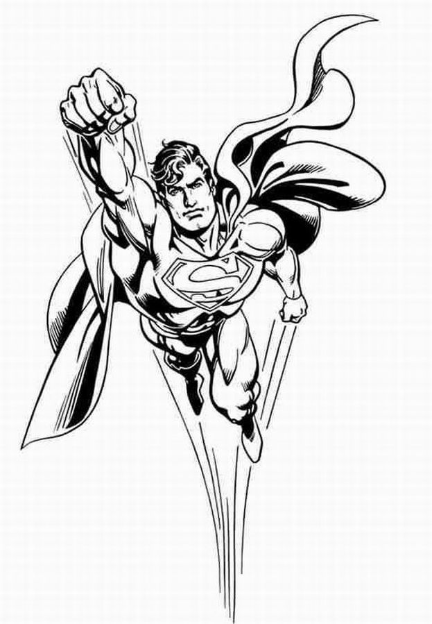Free Superman Coloring Pages For Children And Line Drawing