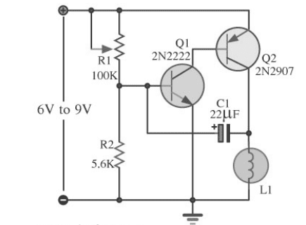 Wiring Schematic Diagram: 3 Volt LED Flasher Using 2 Transistor on