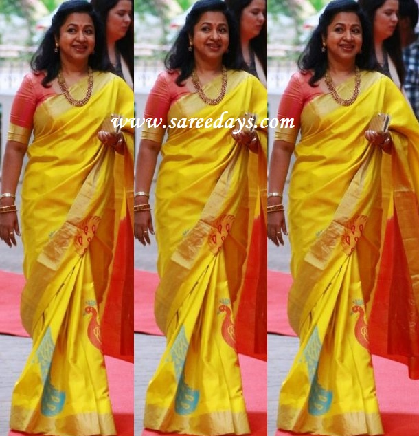 Latest saree designs radhika in mustard silk saree checkout radhika in mustard silk saree with zari border and with peacock self work and paired with contrast half sleeves blouse altavistaventures Image collections