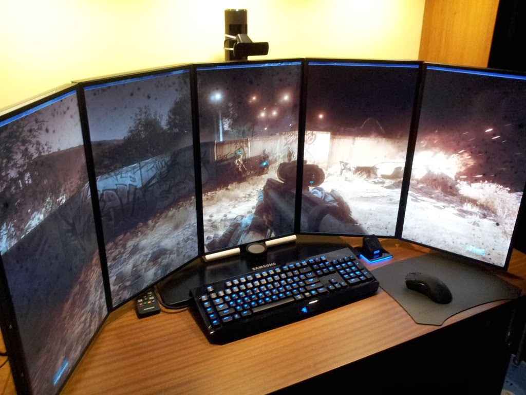 Diy Pc Desk Mods 5 Monitor Battlestation Gaming Desk Setup