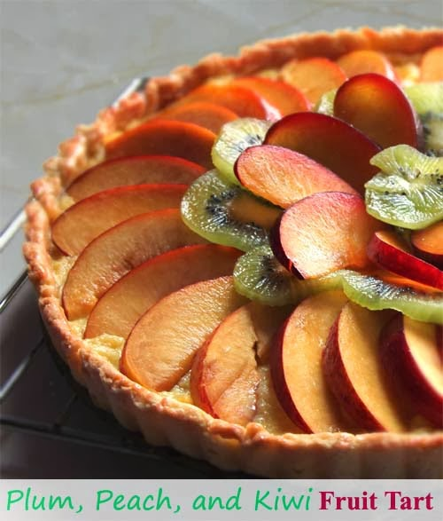 Plum, Peach, and Kiwi Fruit Tart