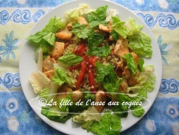 La fille de l 39 anse aux coques salade de boulgour et raisins secs poulet et poivron grill - Salade de poivron grille ...