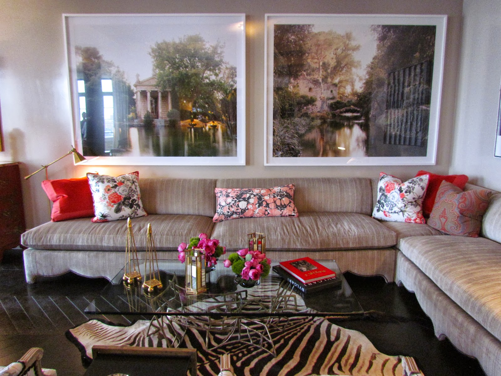 ... 2011, by Silas Seandel // Throw Pillows in Marmo Fabric in Red/Black  Linen/Silk and Elizabeth Chintz Fabric in Rouge/Grey by Branca for  Schumacher, ...
