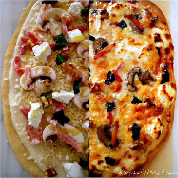 Pizza de bacon, nueces y queso