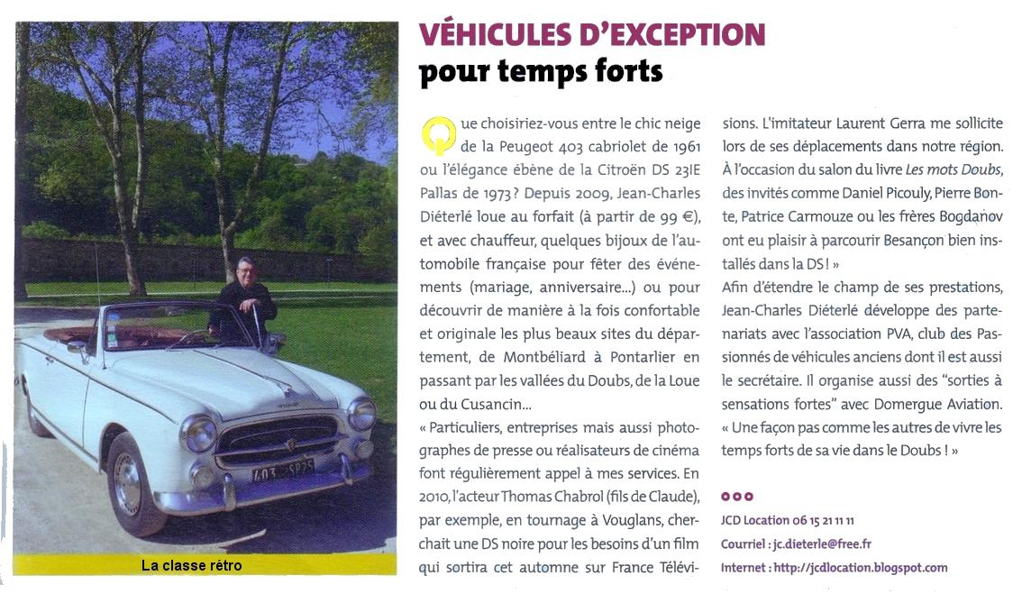 Jcd location des voitures d 39 exception au service de tous vos v nements juin 2011 - Location voiture besancon ...