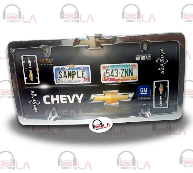 http://www.ebay.com/itm/Cruiser-Accessories-10437-Chrome-Gold-Chevy-License-Plate-Frame-/141691033572