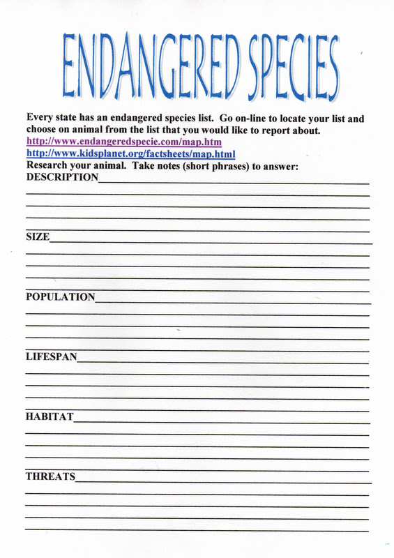 ELEMENTARY SCHOOL ENRICHMENT ACTIVITIES STATEENDANGERED SPECIES – Endangered Species Worksheet