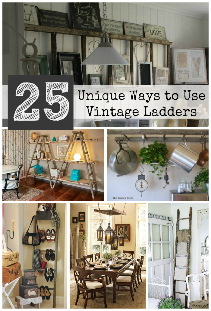 25 unique ways to decorate with vintage ladders driven for Antiques decoration