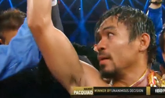 Manny Pacquiao wins over Brandon Rios.