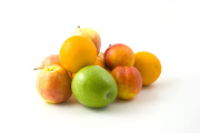 Labels: multi colours fruits on white background