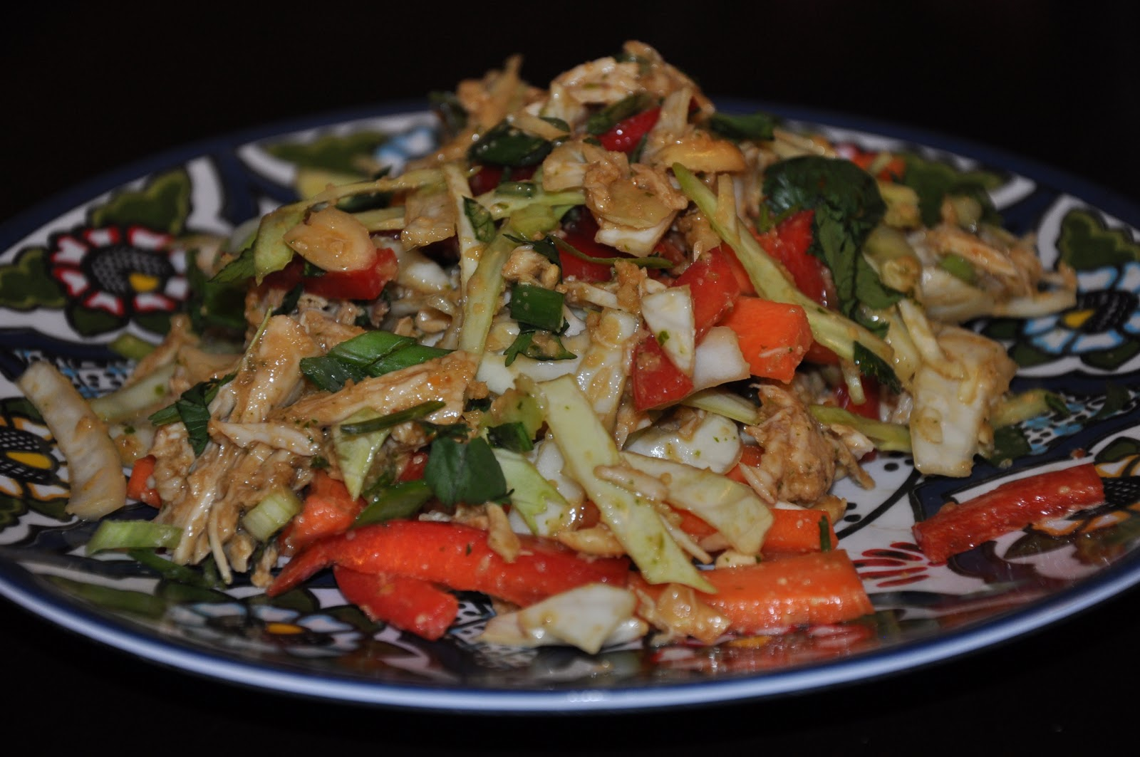 Slice of Rice: Asian Chicken Salad with Spicy Peanut Sauce