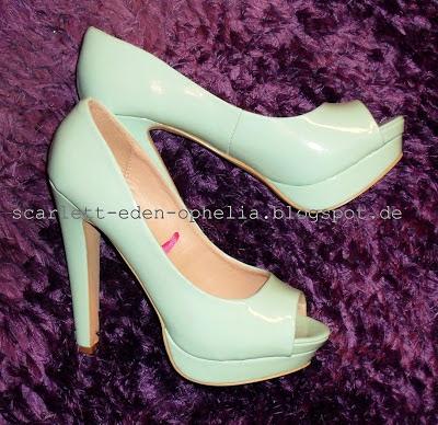 Green High Heels, Mintgrüne Stöckelschuhe