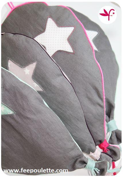 Ballons en lin gris et popeline pour décoration chambre d'enfant