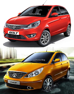 Exterior Side Front View: Tata Bolt vs Tata Indica Vista Compared