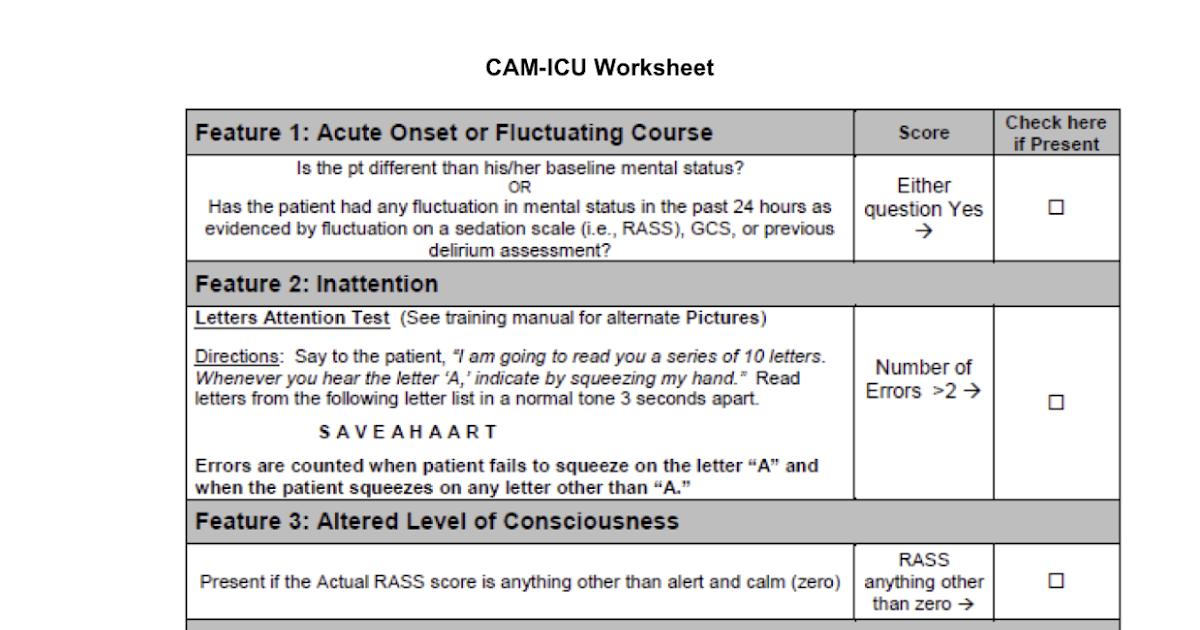 Delirium Guideline on Cam Icu Worksheet