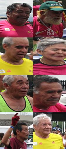 Rostros adultos mayores finalizando maratón.