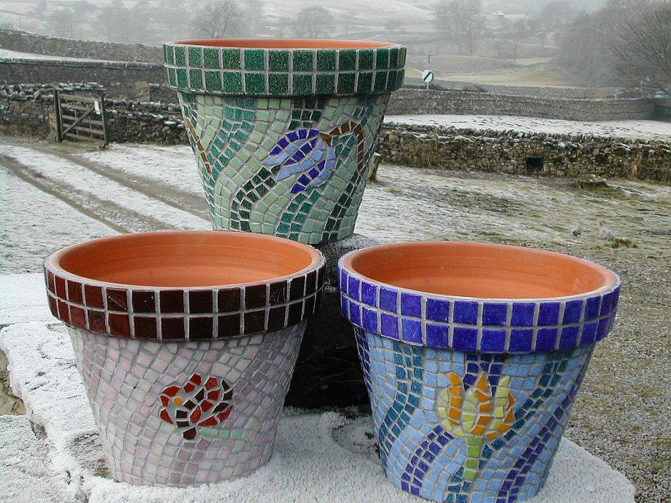Кашпо с мозаикой своими руками 94