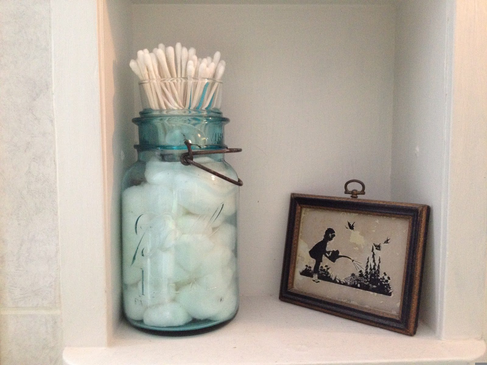 The Farmer 39 S Wife In Canning Jar Cotton Ball And Q Tip Holder