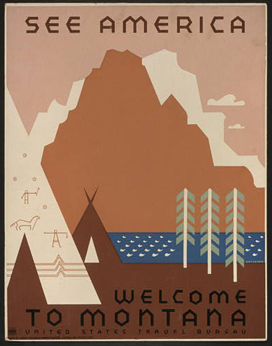 travel, travel posters, vintage, vintage posters, graphic design, montana, united states, america, retro prints, free download, wpa, See America - Welcome to Montana Vintage Travel Poster - United States Travel Bureau