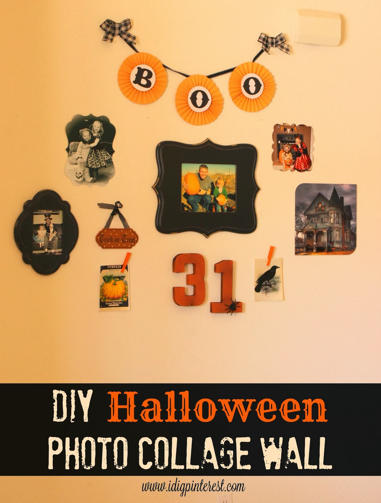 DIY Halloween Photo Collage Wall - I Dig Pinterest