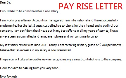Perfect Salary Letter  Pay Raise Letter Template