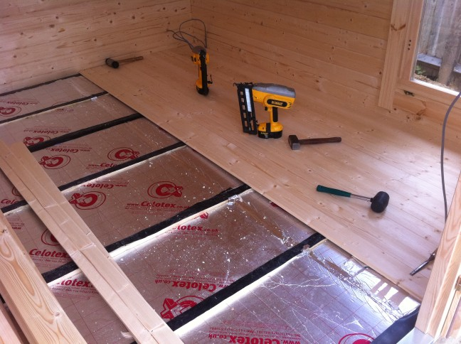 Surbiton garden office installation for 100mm kingspan floor insulation
