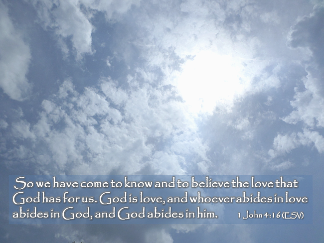 1 John 4:16 God is Love and whoever abides in Love abides in God and God in him.