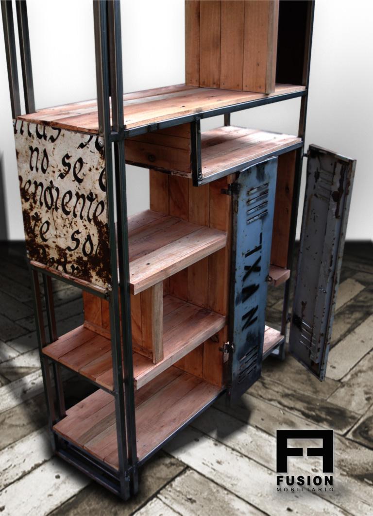 Biblioteca de madera reciclada fusion mobiliario for Puertas con madera reciclada