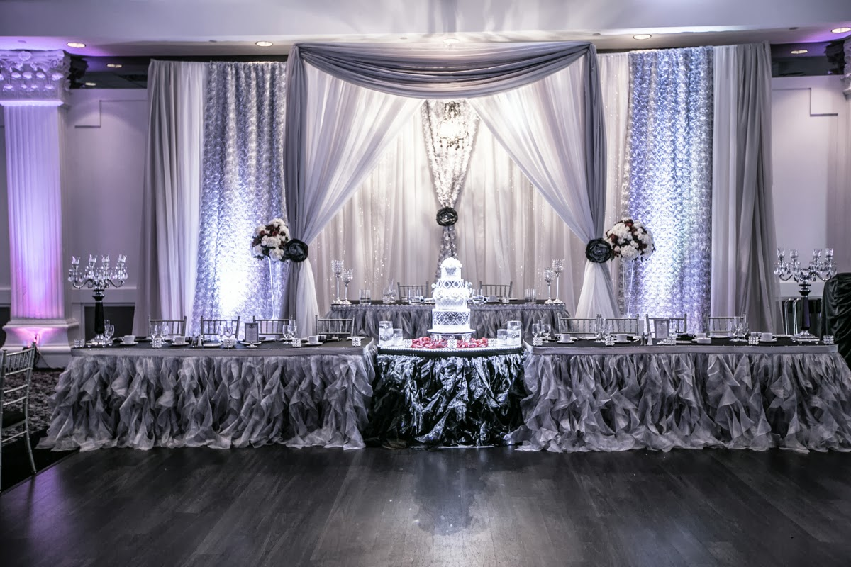 black white purple wedding reception%0A Image result for reception head table decoration ideas   Parties    Pinterest   Head tables  Weddings and Table decorations