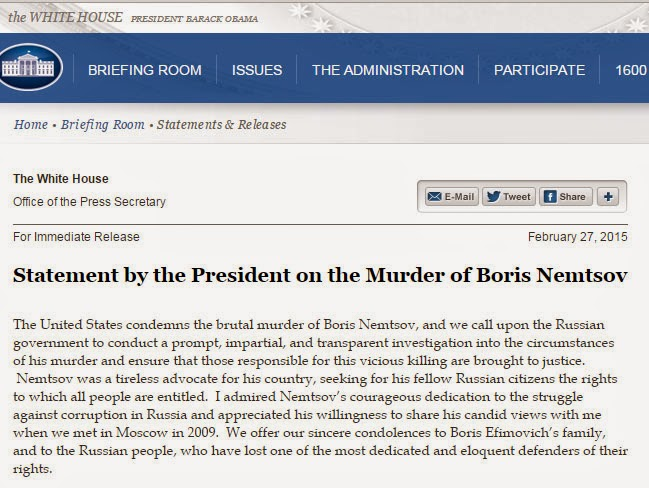 A screenshot of Obama's statement on Nemtsov's death.